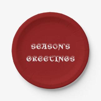 Rojo de los saludos de la estación placa de papel plato de papel de 7 pulgadas