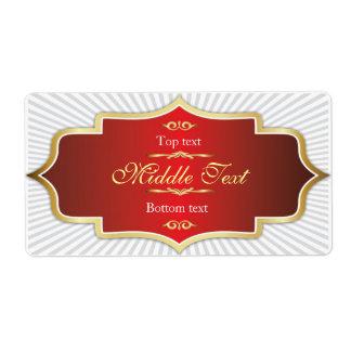 Rojo de lujo de la etiqueta de la jalea del atasco etiquetas de envío