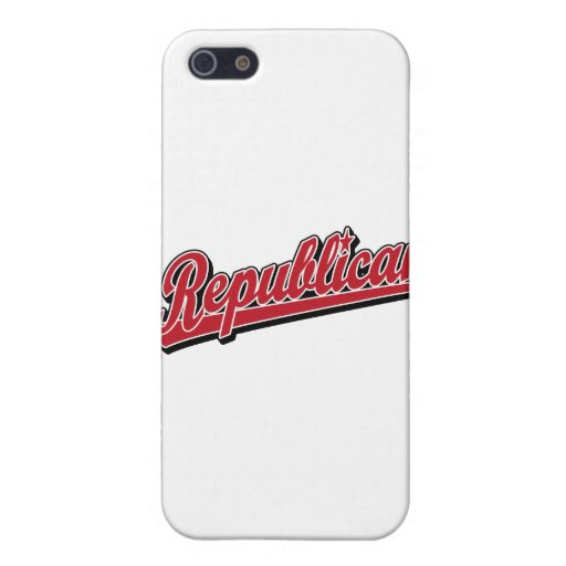 Rojo de lujo del logotipo republicano de la escrit iPhone 5 carcasas