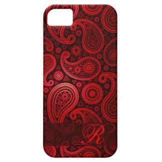 Rojo de lujo del monograma el | de Paisley iPhone 5 Case-Mate Carcasas