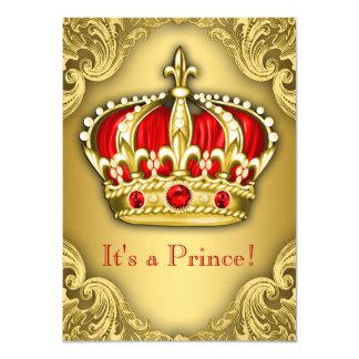 """Rojo de lujo y oro del príncipe fiesta de invitación 4.5"""" x 6.25"""""""