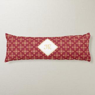 Rojo de lujo y oro Quatre del monograma floral Almohada
