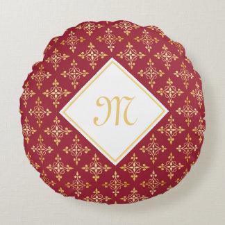 Rojo de lujo y oro Quatre del monograma floral Cojín Redondo