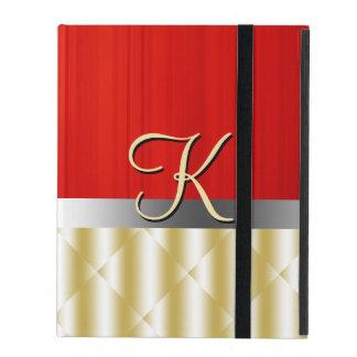 Rojo de madera y oro del caso del iPad 2/3/4 de la