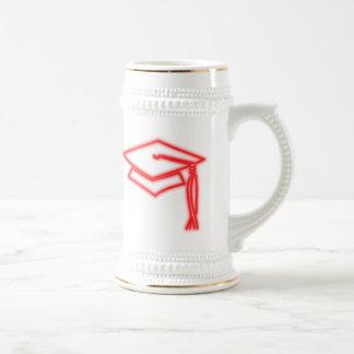 Rojo de neón Stein del casquillo del graduado Jarra De Cerveza