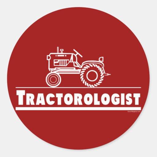 ROJO de Ologist del tractor Pegatina Redonda