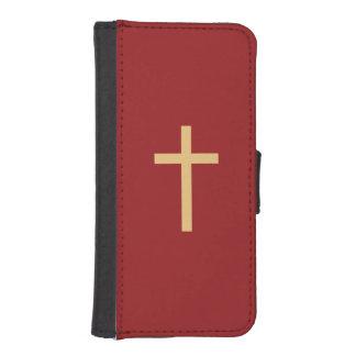 Rojo de oro cruzado cristiano básico del amarillo fundas tipo cartera para iPhone 5