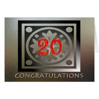 Rojo de oro elegante del vigésimo aniversario del  tarjeta de felicitación