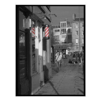 Rojo de poste del peluquero póster