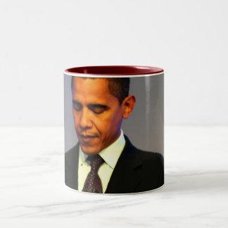 Rojo de presidente Barack Obama dentro Taza De Café De Dos Colores