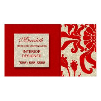 Rojo de rubíes con la impresión de color topo del tarjetas de visita