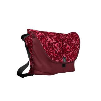 Rojo de rubíes del granate floral del vintage bolsa de mensajería