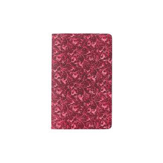 Rojo de rubíes del granate floral del vintage funda para libreta y libreta pequeña moleskine