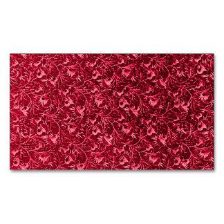Rojo de rubíes del granate floral del vintage tarjetas de visita magnéticas (paquete de 25)