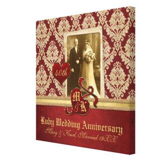 Rojo de rubíes del oro del damasco de la antigüeda impresiones en lienzo estiradas