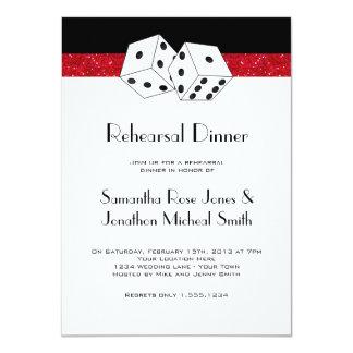Rojo de rubíes del tema de los dados de la cena invitación 11,4 x 15,8 cm