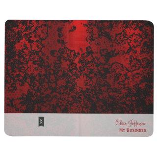 Rojo de rubíes en elegante vibrante floral negro cuadernos
