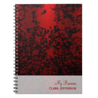 Rojo de rubíes en elegante vibrante floral negro libreta espiral