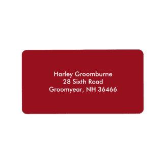 Rojo de rubíes etiquetas de dirección