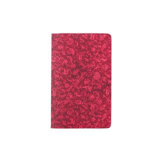 Rojo de rubíes floral de la llama del vintage funda para libreta y libreta pequeña moleskine