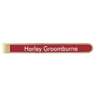 Rojo de rubíes personalizado alfiler de corbata dorado