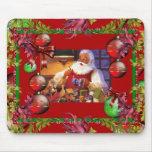 Rojo de Santa del navidad del vintage de Navidad d Tapete De Raton