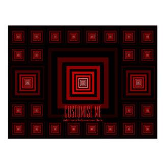 Rojo de Squareception (modelo cuadrado) Tarjetas Postales