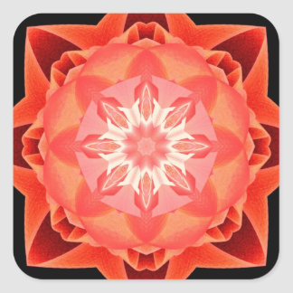 Rojo de Stardust del fractal Pegatina Cuadrada
