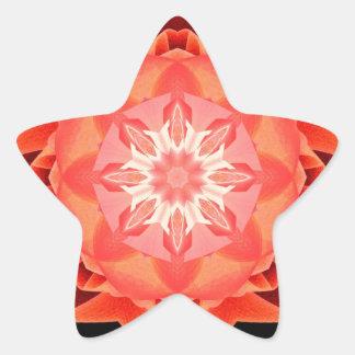 Rojo de Stardust del fractal Pegatina En Forma De Estrella