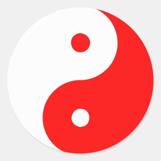 Rojo de Taijitu del chino de la muestra del Taoism Pegatina Redonda