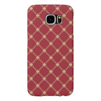 Rojo de Tudor y modelo de la diagonal del oro Fundas Samsung Galaxy S6