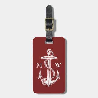 Rojo de vino blanco de la cuerda del ancla del etiquetas bolsas