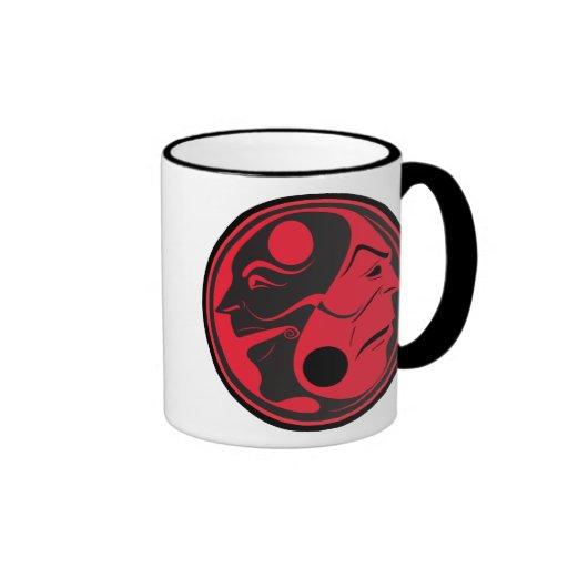 Rojo de Yin Yang de la tragedia de la comedia Tazas