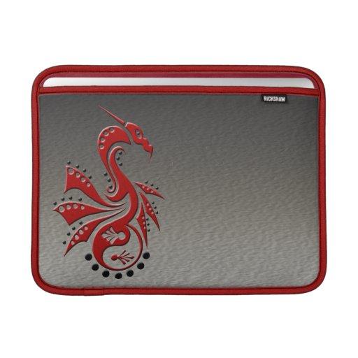 Rojo de Yin Yang del dragón 1 Funda Para Macbook Air
