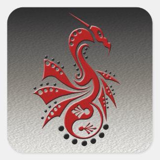 Rojo de Yin Yang del dragón 1 Pegatina Cuadrada