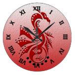 Rojo de Yin Yang del dragón 1 Reloj De Pared