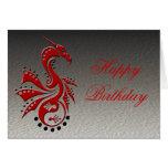 Rojo de Yin Yang del dragón 1 Tarjeta De Felicitación