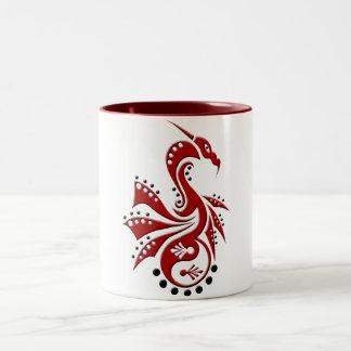 Rojo de Yin Yang del dragón 1 Taza De Dos Tonos