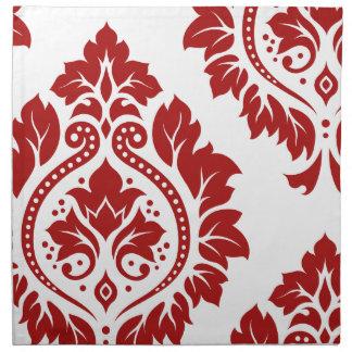 Rojo decorativo del arte I del damasco en blanco Servilleta Imprimida