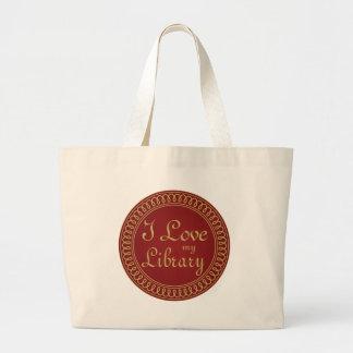 Rojo del amante de la biblioteca y regalo de la bolsa tela grande