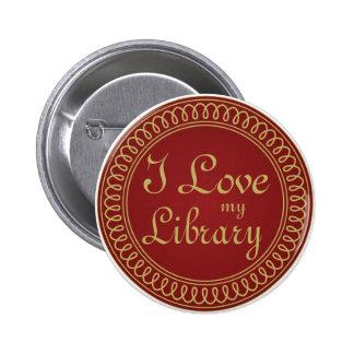 Rojo del amante de la biblioteca y regalo de la pin redondo de 2 pulgadas