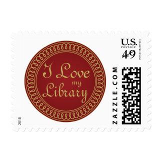Rojo del amante de la biblioteca y regalo de la timbre postal