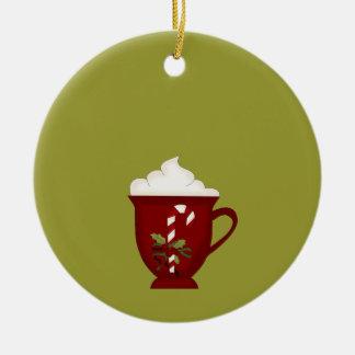 Rojo del amante del chocolate caliente con verde adorno redondo de cerámica