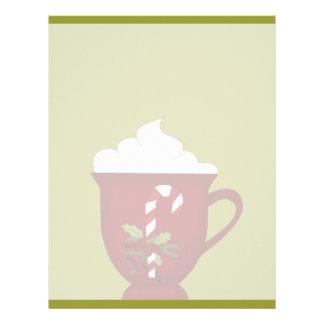 Rojo del amante del chocolate caliente con verde plantilla de membrete