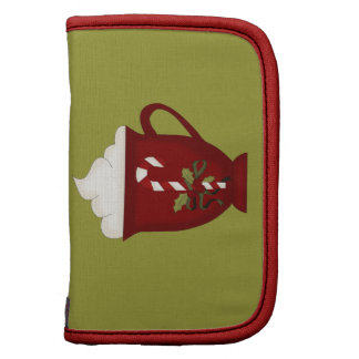 Rojo del amante del chocolate caliente con verde organizador