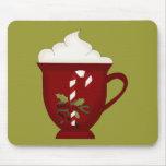 Rojo del amante del chocolate caliente con verde tapete de ratón