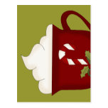 Rojo del amante del chocolate caliente con verde postales