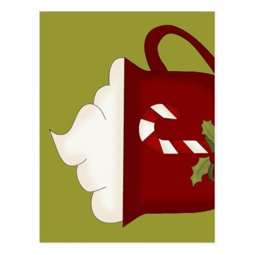Rojo del amante del chocolate caliente con verde postal