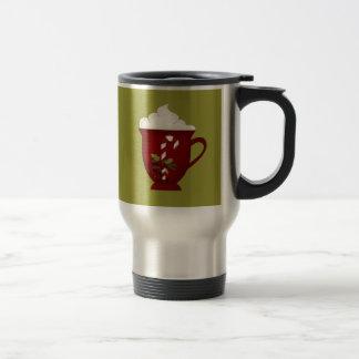 Rojo del amante del chocolate caliente con verde tazas