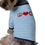 Rojo del amor y de la atención sanitaria de la paz camisas de mascota